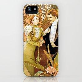 Alphonse Mucha Flirt Vintage Romantic Art Nouveau iPhone Case