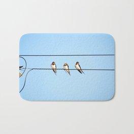 Sleepy Swallows - Birds on the wire Bath Mat