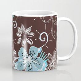 Summer blossom, brown and blue pattern Coffee Mug