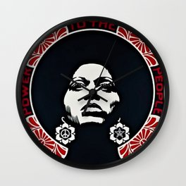Angela Davis - Power & Equality - Power to the People - Red - African American Vintage Poster Wall Clock