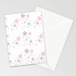 Pink Grey Gray Stars Stationery Cards