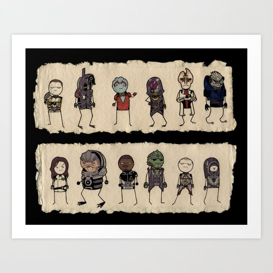Mass Effect 2 Normandy crew Art Print