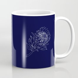 King Protea Outline - Navy and White Coffee Mug