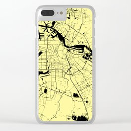 Amsterdam Yellow on Black Street Map Clear iPhone Case