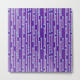 Dotted Lines in Purple, White and Turquoise Metal Print