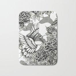 Cranes (B&W) Bath Mat