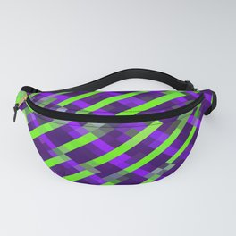 geometric pixel square pattern abstract background in purple green Fanny Pack