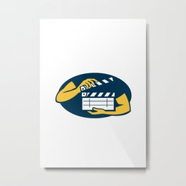 Hand Holding Movie Clapboard Oval Retro Metal Print