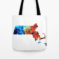 patriots Tote Bags featuring Massachusetts - Map Counties By Sharon Cummings by Sharon Cummings