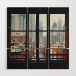 New York City Window Wood Wall Art