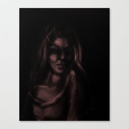 Digital painting of mysterious girl Canvas Print