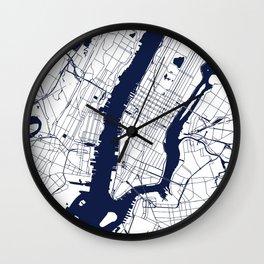 New York City White on Navy Wall Clock