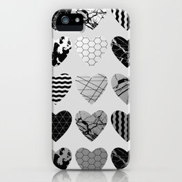 Metallic Love - Hexagon, stripes, triangles, geometric, marble, paint splat hearts! iPhone Case