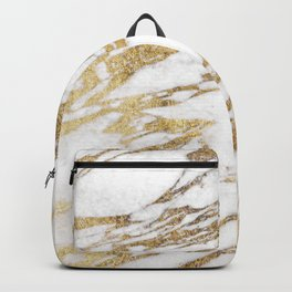 Chic Elegant White and Gold Marble Pattern Backpack