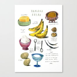 illustrated recipes: banana bread Canvas Print