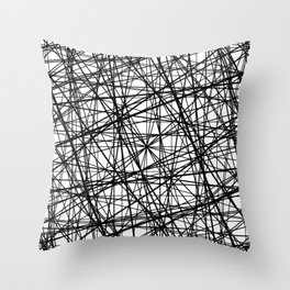 Geometric Collision - Abstract black and white Throw Pillow