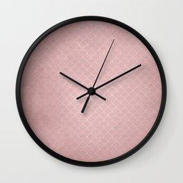 Grunge textured rose quartz small scallop pattern Wall Clock