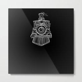 Locomotive - One Line Drawing Metal Print