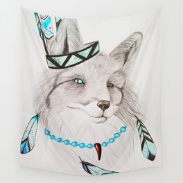 Fox with feathers Wall Tapestry