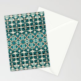 ikat geo mix patched in teal Stationery Cards