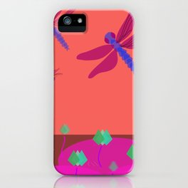 dragonfly above lotus pond iPhone Case