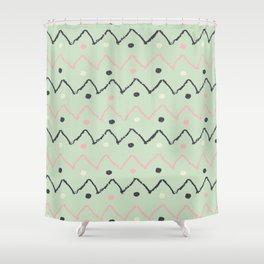 Hand Made Pattern Green & Black Shower Curtain