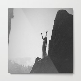 Incantation, A Goddess, mountain - canyon female form black and white photography by Anne Brigman  Metal Print