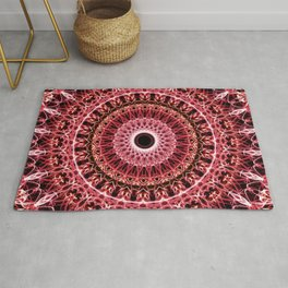 Mandala in red and white colors Rug