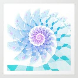 Modern Fractal Spiral in Turquoise, Blue & Purple Art Print