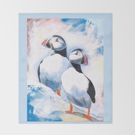 Puffins - I watch over you, little brother - by LiliFlore Throw Blanket
