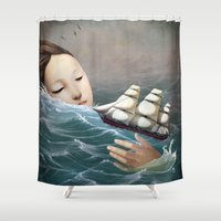 voyage Shower Curtains featuring Voyage by Christian Schloe