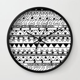 Hand painted black white watercolor aztec pattern Wall Clock