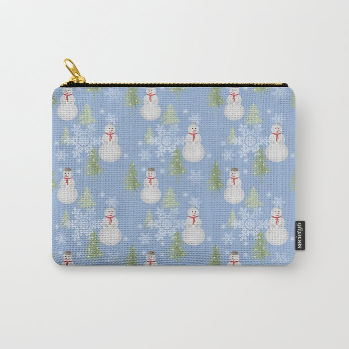 Winter . Christmas . New year . Blue background . Carry-All Pouch