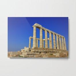 Temple of Poseidon in Sounion near Athens (Greece) Metal Print