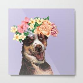 flowers dog Metal Print