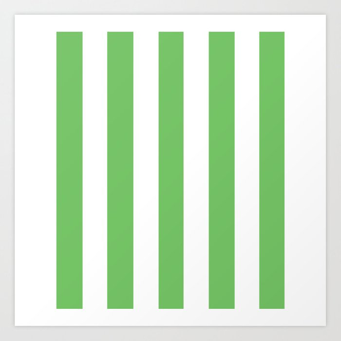 Mantis Green Solid Color White Vertical Lines Pattern Art Print