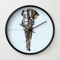 lost in translation Wall Clocks featuring Lost In Translation by Bill Pyle