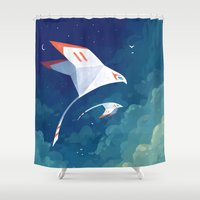 nursery Shower Curtains featuring Flyby by Freeminds