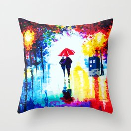 Art Painting Tardis Romantic Throw Pillow