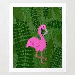 Flamingo Leaves Art Print
