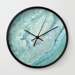 """Aquamarine Pastel and Teal Agate Crystal"" Wall Clock"