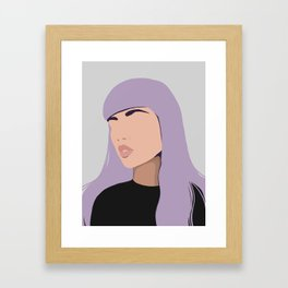 Harlow - portrait of a woman with purple hair Framed Art Print