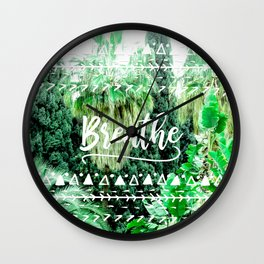 Modern typography breathe green tropical palm tree forest photography white boho geometric Wall Clock