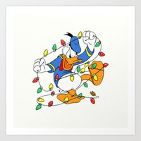 donald duck Art Prints featuring Funny Angry Donald Duck by Yuliya L