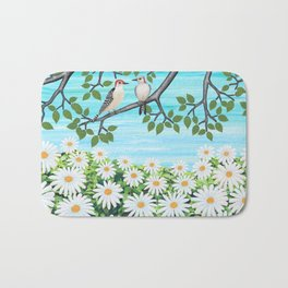 red bellied woodpeckers and daisies Bath Mat