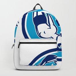 Free Diver and Dolphin Yin Yang Circle Retro Backpack