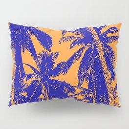 Palm Trees Design in Blue and Orange Pillow Sham