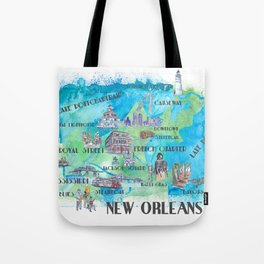 New Orleans Louisiana Favorite Travel Map with Touristic Highlights in colorful retro print Tote Bag