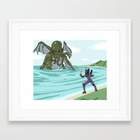 neon genesis evangelion Framed Art Prints featuring Neon Genesis Elder God by CaptainSunshine