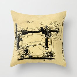 Sewing Machines Support Patent Drawing From 1885 Throw Pillow
